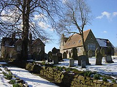 Gravestones and Church Hall, Barnston - geograph.org.uk - 131894.jpg