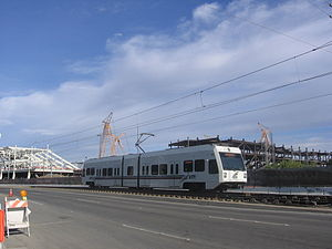Great America station - A VTA train near Great America Station with Levi's Stadium under construction.