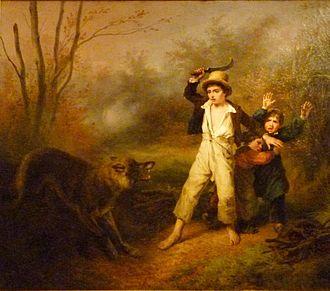 Wolf attacks on humans - Petits paysans surpris par un loup by François Grenier de Saint-Martin, 1833