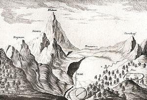 Grossglockner - Klokner, 1782 engraving by Belsazar Hacquet