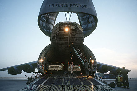 The cargo hold and intercontinental flight capabilities of the C-5 Galaxy make it a major asset for deploying military equipment around the globe.