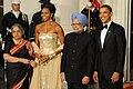 Gursharan Kaur, Michelle Obama, Manmohan Singh and Barack Obama, 2009.jpg