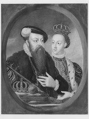 Gustav Vasa (1496-1560) Med sin andra gemål: Margareta Leijonhufvud (1516-1551), drottning av Sverige