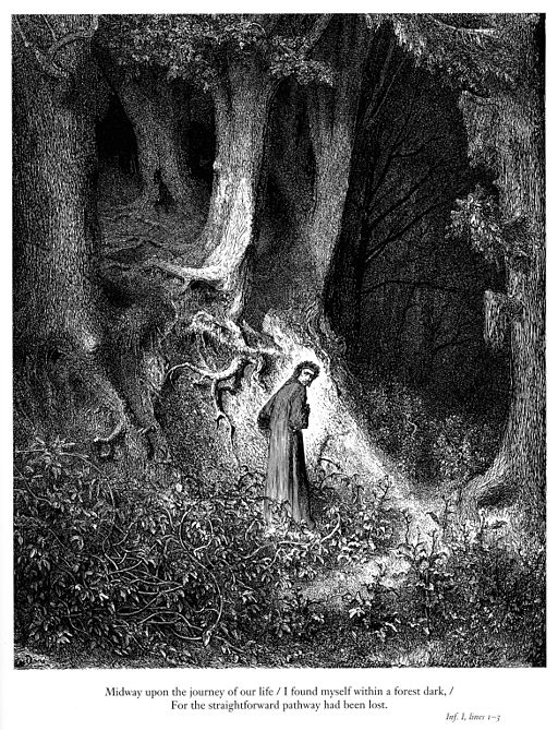 Gustave Doré - Dante Alighieri - Inferno - Plate 1 (I found myself within a forest dark...)