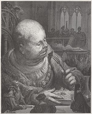 "Gargantua and Pantagruel - Gargantua and ""Pilgrims eaten in salads, illustration Gustave Doré, 1873."