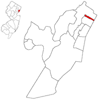Guttenberg highlighted in Hudson County. Inset: Location of Hudson County highlighted in the State of New Jersey.