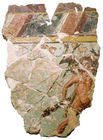 Celsa (Roman city) - Fresco from the House of Hercules: Hercules and the Erymanthian boar