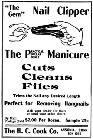 Nail clipper - 1902 advertisement from Good Housekeeping for Carter's nail cutter, produced by the H. C. Cook Company of Ansonia, Connecticut