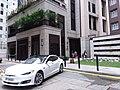 HK CWB 銅鑼灣 Causeway Bay 信德街 Shelter Street March 2019 SSG white Tesla car.jpg