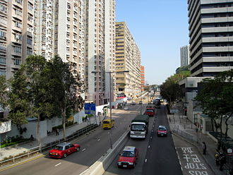 Tsing Yi Heung Sze Wui Road - Tsing Yi Heung Sze Wui Road, with Greenfield Garden on the left and Tsing Yi Police Station on the right.