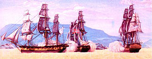 HDMS Lougen (1791) - Image: HMS Arab Privateer Experiment and Danish Brig Lougen 1801