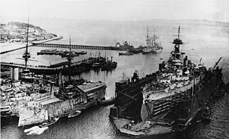 HMS Erin - Erin in a floating drydock, about 1918