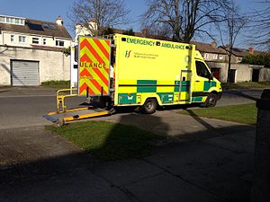 HSE National Ambulance Service - Image: HSE NAS Emergency Ambulance at a scene in Dublin 2014 03 14 00 00