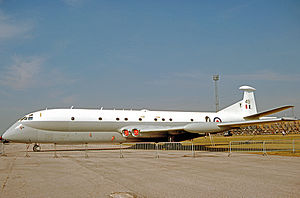 No. 203 Squadron RAF - HS Nimrod MR.1 of No. 203 Squadron wearing the unit's badge on its fin in 1977 when displayed at Royal Air Force Finningley.