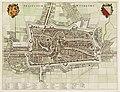 HUA-214022-Plattegrond van de stad Utrecht met directe omgeving met wegen watergangen en gestileerde weergave van de bebouwing en het grondgebruik in opstand met.jpg
