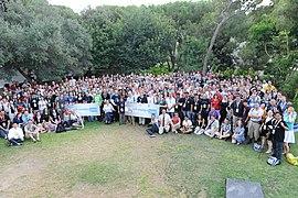 Fotografía grupal de asistentes a Wikimanía 2011.