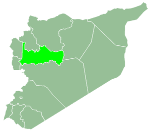 Siege of Hama (2011) - A map of Syria with Hama Governorate (مُحافظة حماه) highlighted.