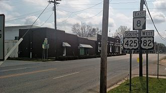 Ashley County, Arkansas - US 82/US 425/AR 8 overlap as Main Street in Hamburg