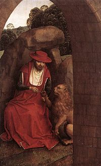 Hans Memling - St Jerome and the Lion - WGA14946.jpg