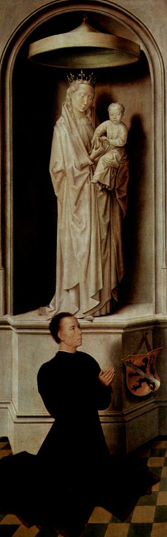 Grisaille - Hans Memling wing, with donor portrait in colour below grisaille Madonna imitating sculpture.