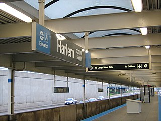 "Harlem station (CTA Blue Line OHare branch) Chicago ""L"" station"