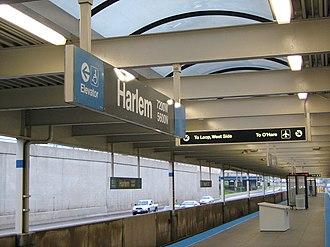 Harlem station (CTA Blue Line O'Hare branch) - Image: Harlem blue line O'Hare