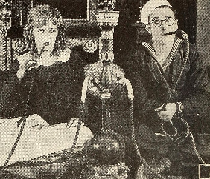 File:Harold Lloyd Smoking a Hookah with Mildred Davis in A Sailor-Made Man.jpg