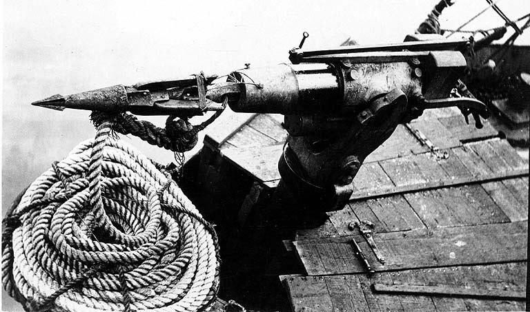 Harpoon mounted on a whaling boat, Alaska, ca 1915 (COBB 76).jpeg
