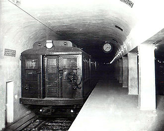 Harvard (MBTA station) - A train at the original Harvard station in 1912
