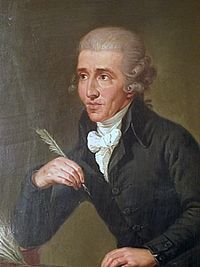 Portrait by Ludwig Guttenbrunn, painted c. 1791–92, depicts Haydn c. 1770 (Source: Wikimedia)
