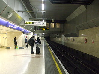 Heathrow Terminal 4 tube station - Image: Heathrow Terminal 4 tube look east