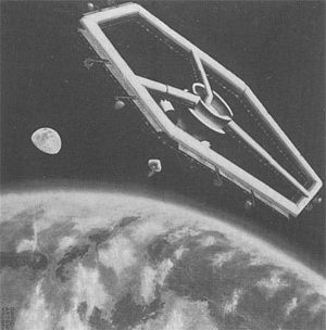 Rotating wheel space station - Image: Hegagonal inflatable space station 1962