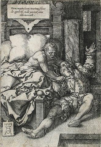 The Justice of Trajan and Herkinbald - Image: Heinrich Aldegrever Der Richter Herkinbald (Archambaud) seinen Neffen erstechend