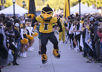 Herky the Hawk - Herky the Hawk performing at the Beat State Pep Rally in 2014.
