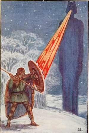 Fionn mac Cumhaill - Fionn fighting Aillen, illustration by Beatrice Elvery in Violet Russell's Heroes of the Dawn (1914)