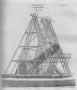 Encyclopædia Britannica Third Edition - Illustration of William Herschel's Grand Telescope of 1789.