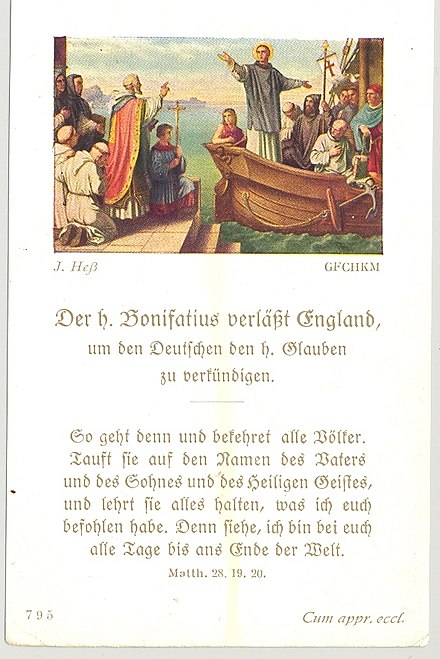 Prayer card, early 20th century, depicting Boniface leaving England Hess Boniface leaves England 1.jpg