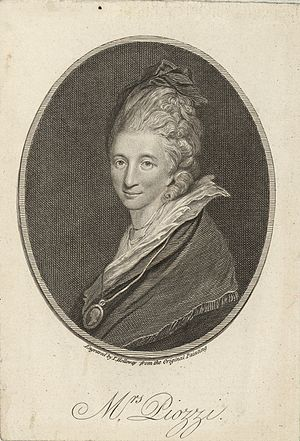 Hester Thrale - Engraving of a Portrait of Mrs. Thrale at the age of 40 by Sir Joshua Reynolds