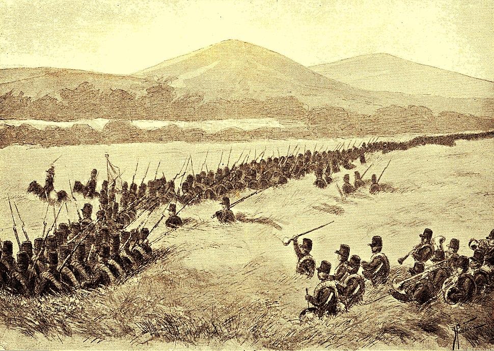 Het zevende bataljon tot de aanval oprukkend