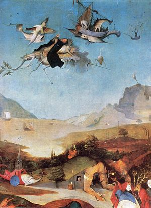 Triptych of the Temptation of St. Anthony - Detail showing St Anthony carried into the sky by demons