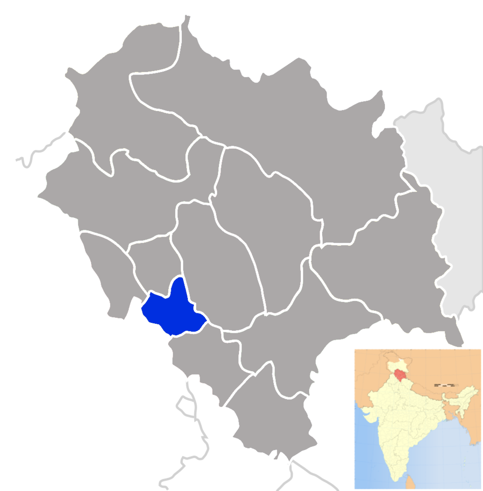 Location of Bilaspur district in Himachal Pradesh