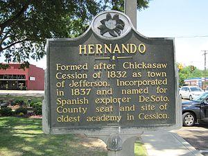 Hernando, Mississippi - Image: Historical Marker at Court Square Hernando MS 02