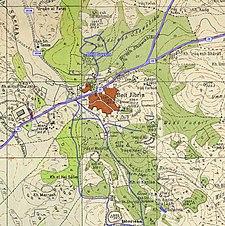 Serie de mapas históricos para el área de Bayt Jibrin (década de 1940 con superposición moderna) .jpg