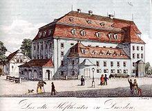 Opernhaus Dresden (um 1820) (Quelle: Wikimedia)