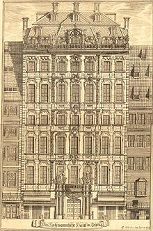 Das Hohmannsche Haus in der Katharinenstraße um 1720 (Quelle: Wikimedia)