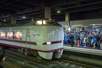 Hakutaka - A Hokuetsu Express 683-8000 series EMU on the final limited express Hakutaka service from Kanazawa on 13 March 2015