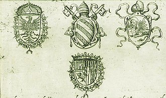 Holy League (1571) - The coats of arms of the leaders of the Holy League (Habsburg Spain, Pope Pius V, Republic of Venice, John of Austria) as depicted in the printed order of battle published on 14 November 1571 by Antonio Lafreri in Rome.