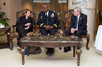 Stephen Hadley - Homeland Security Adviser Lisa Monaco, CENTCOM Commander Army General Lloyd Austin, and former National Security Adviser Stephen Hadley chat at King Khaled International Airport, as they await President Obama's arrival in Riyadh, Saudi Arabia, on January 27, 2015, to extend condolences to the late King Abdullah and call upon and meet with the new King Salman.