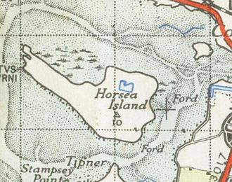 Horsea Island - Ordnance Survey map of Horsea Island, 1945; detail omitted for security reasons.