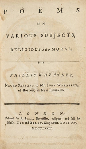 Phillis Wheatley - Poems on Various Subjects, Religious and Moral, 1773